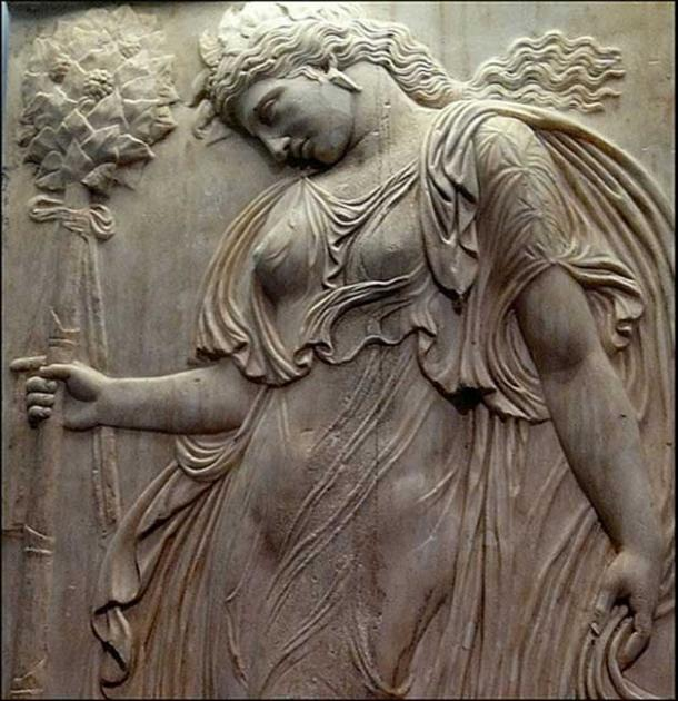 A Roman relief showing a dancing maenad holding a thyrsus (12-140 AD).