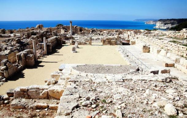Fourth century Roman ruins at Nea Paphos, Cyprus looking out to the Mediterranean Sea