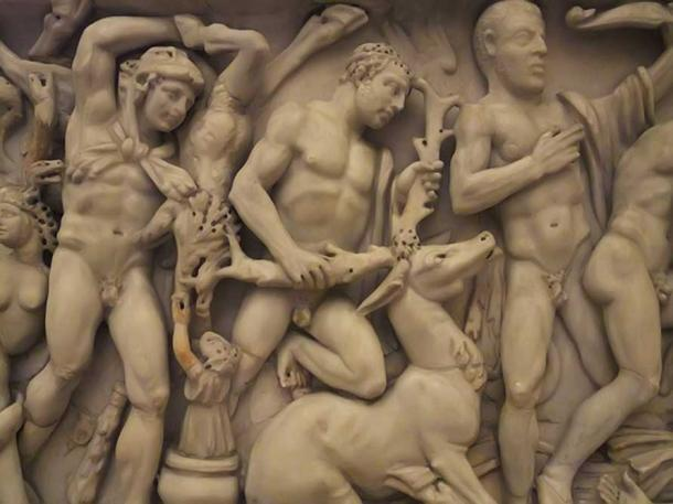 Roman sarcophagus depicting Labors of Hercules - defeat of Erymanthian Boar, Hind of Ceryneia and Birds of Stymphalus 240-250 AD