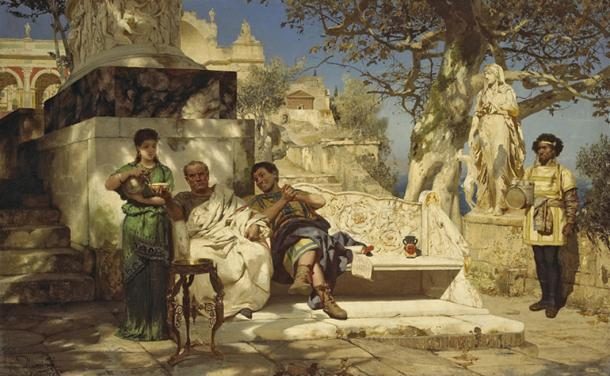 Roman senator and a guest at leisure with slaves attending. Painting by Henryk Siemiradzki (1881) (Public Domain)
