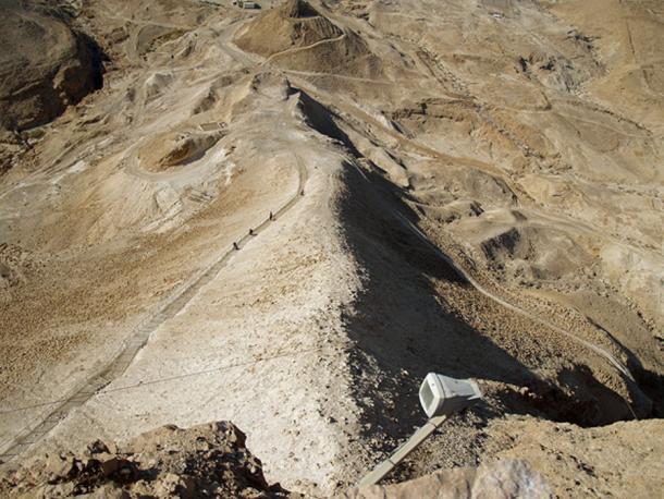 A Roman siege ramp seen from above