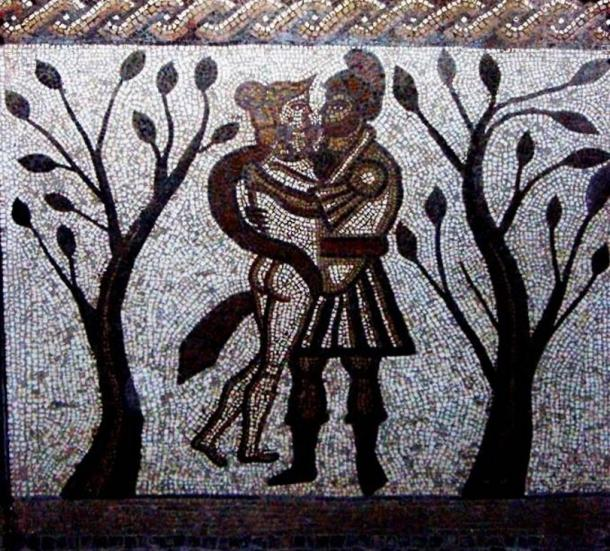 Mosaic of a Roman soldier embracing a woman.