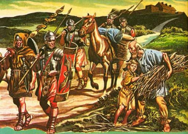 Illustration of Roman soldiers patrolling or traveling on a road.