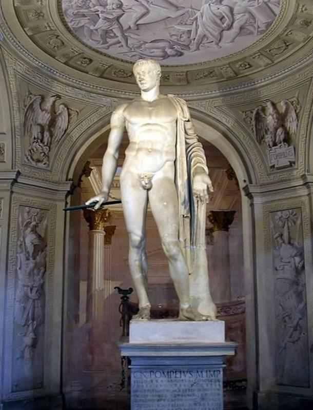 Roman statue of Pompey. It is now in Villa Arconati a Castellazzo di Bollate (Milan, Italy). It was brought there from Rome in 1627. It is handed down that Julius Caesar was killed at the feet of this statue, but modern research reveals there's more to the story.