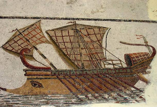 Roman trireme on the mosaic in Tunisia