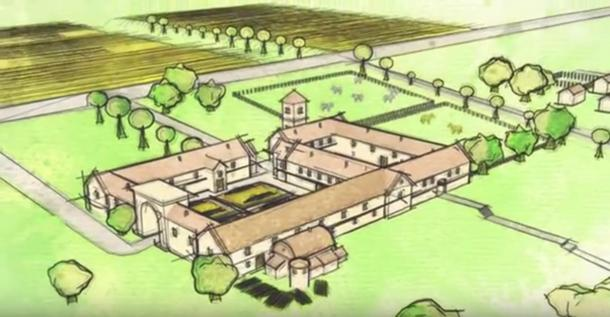 Screenshot showting the Roman villa as rendered by a video artist, based on the discoveries made at the site.