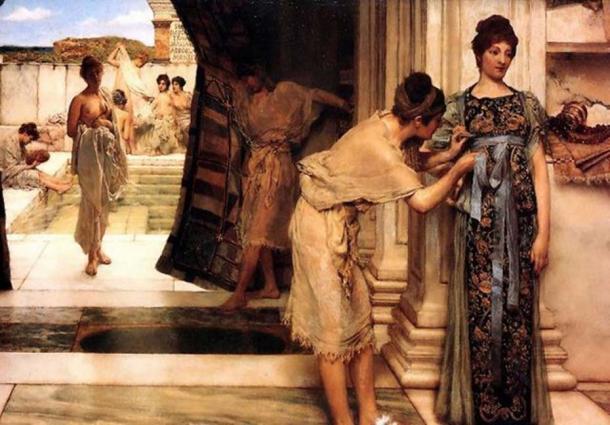 Roman women in 'The Frigidarium' (1890) by Lawrence Alma-Tadema. (Public Domain)