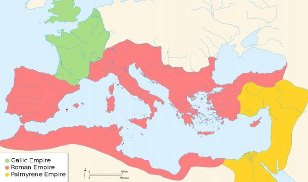 The Roman Empire broke into three factions. (Ras67 / CC BY-SA 3.0)