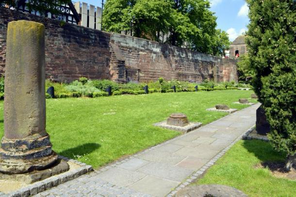 Roman wall and ruins in Chester, England. Credit: Peter / Adobe Stock