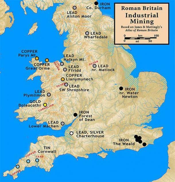 Sitios mineros industriales romanos en Britannia (CC BY-SA 3.0)