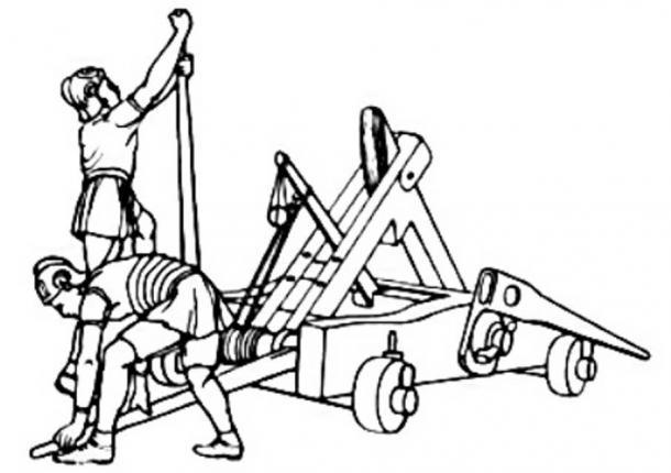 Romans arming a catapult.
