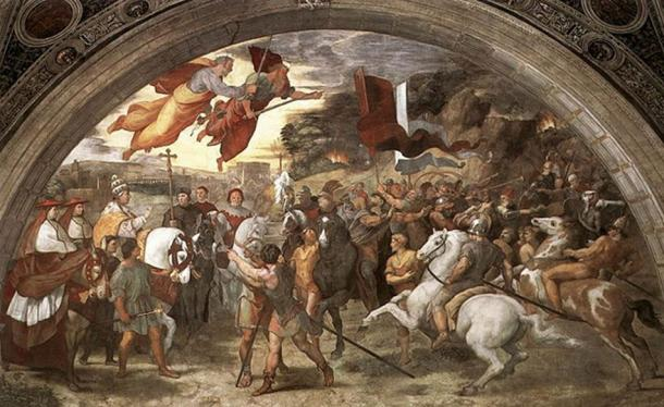 Vatican fresco: The Meeting between Leo the Great (painted as a portrait of Leo X) and Attila. Raphael Eventually, Rome was forced to pay tributes in order to stop the Huns' onslaught.