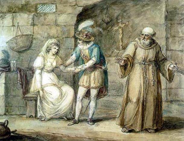 Romeo and Juliet are wedded by a friar, just as Romeo and Giulietta in Luigi da Porta's work