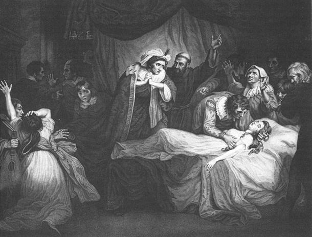 Like Shakespeare's account of Romeo finding Juliet sleeping but believing her dead, Salernitano's earlier story contains a scene in which Mariotto finds the sleeping body of Giannoza, and believes she has died