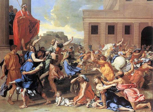 Romulus oversees the abduction of the Sabine women