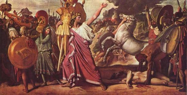 Romulus, Victor over Acron, hauls the rich booty to the temple of Jupiter. (Public Domain)