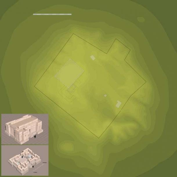 Rough map of the Eridu mound showing the main ziggurat, temple, and a few buildings. (Cush/CC BY SA 3.0)