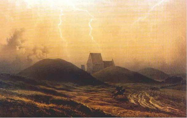 Painting of the Royal Mounds of Gamla Uppsala. Circa 1850.