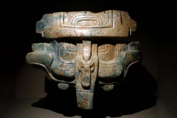 Royal belt ornament (tzuk), Maya, southern Maya lowlands, Mexico or Guatemala, Late Classic period, c. 600-900 AD, jadeite - Dallas Museum of Art. (Public Domain)