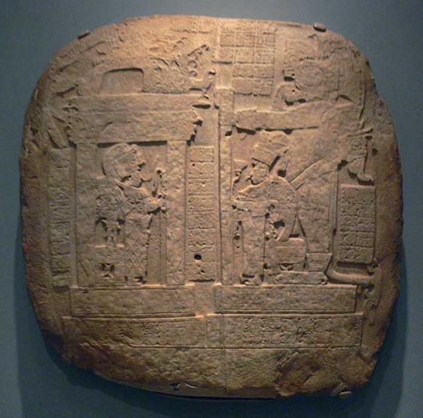 Royal throne effigy; Maya culture, Guatemala, probably La Corona, A.D. 731; 73.5 x 73.2 x 5.7 cm; Limestone. Dallas Museum of Art, Dallas, Texas. (Public Domain)