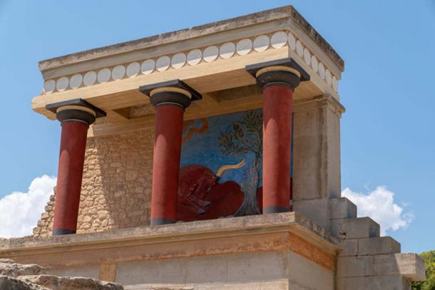 Ruins at Knossos palace, including a restored fresco panel. Credit: Ioannis Syrigos