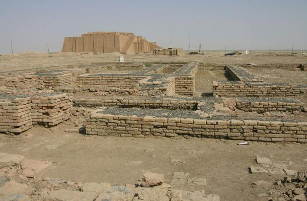 Ruins in the Town of Ur, Southern Iraq, with the ziggurat in the background