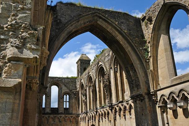 Ruins of Glastonbury Abbey church, Somerset, England.