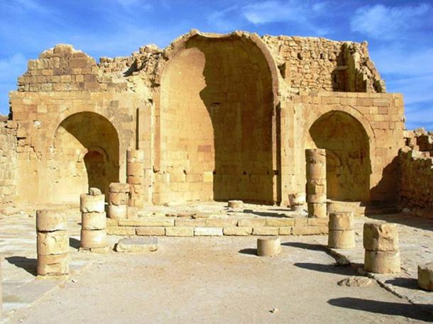 Ruins of a Church in Shivta, Ancient City on the Incense Route in the Negev Desert, Israel.