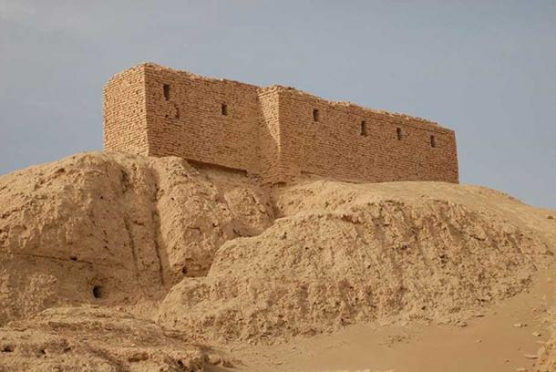 Ruins of a temple platform in Nippur—the brick structure on top was constructed by American archaeologists around 1900.