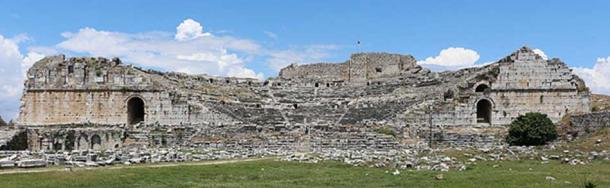 Ruins of an ancient Greek theater in Miletus, Turkey.