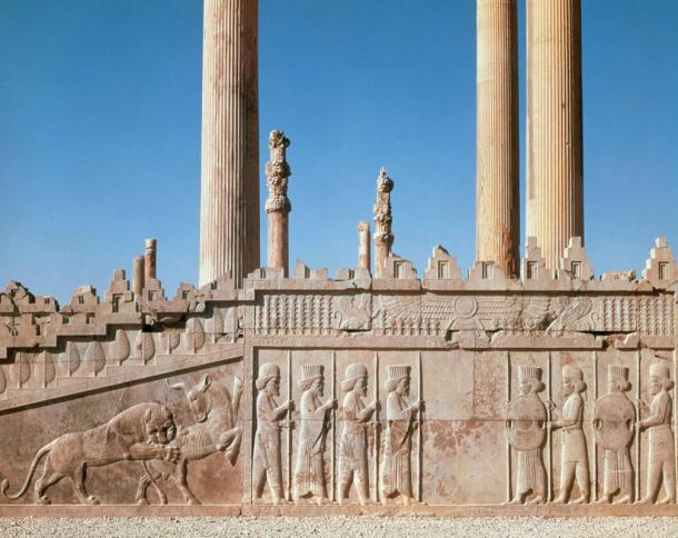 Ruins of the Apadana palace in Persepolis, Iran