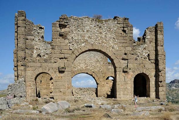 Ruins of the Basilica at Aspendos, Turkey.