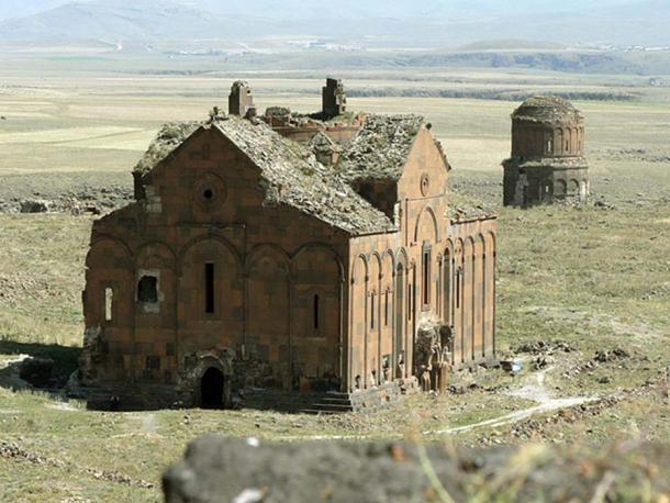 Ruins of the Cathedral of Ani and the church of Redeemer in Ani, an ancient capital of Armenia in the 10th century.