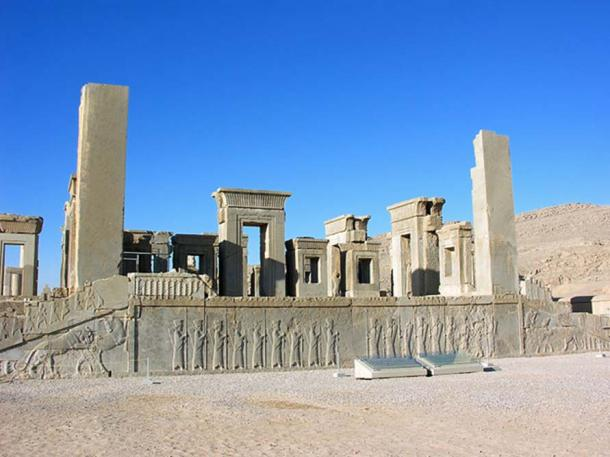 Ruins of the Tachara showing impressive array of stone relief, Persepolis