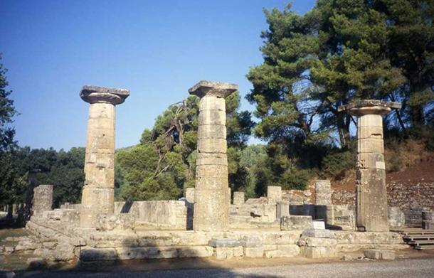 Ruins of the Temple of Hera at Olympia.
