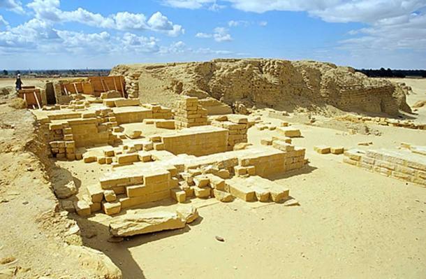 Ruins of the stone temple of Soknobkonneus, Umm el-Athl (Bacchias), el-Fayyum, Egypt.