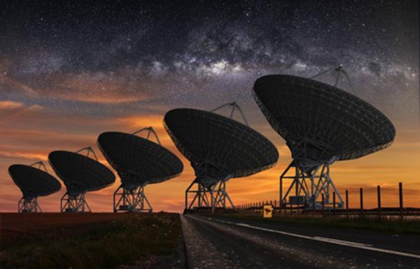 SETI telescope at night. (sdecoret / Adobe Stock)