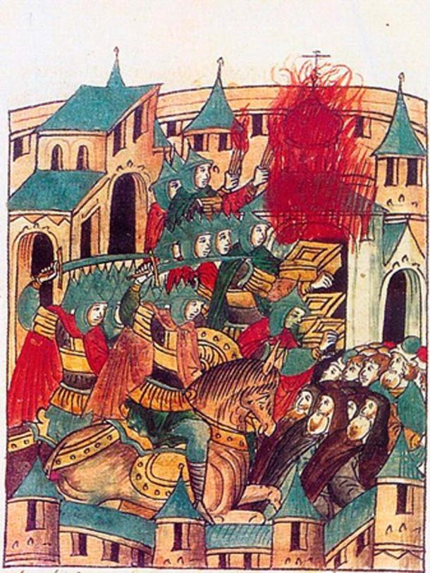 Sacking of Suzdal by Batu Khan in February, 1238. Mongol Invasion of Russia. A miniature from the sixteenth century chronicle. (Public Domain)