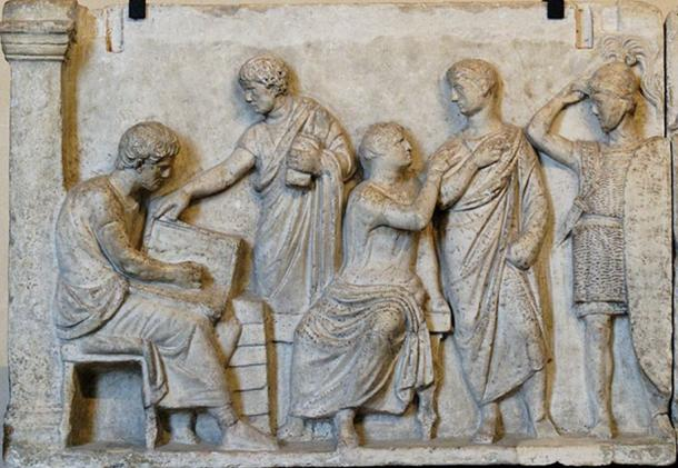 "Sacrifice scene during a census: left part of a plaque from the Altar of Domitius Ahenobarbus known as the ""Census frieze"". Marble, Roman artwork of the late 2nd century BC. From the Campo Marzio, Rome."