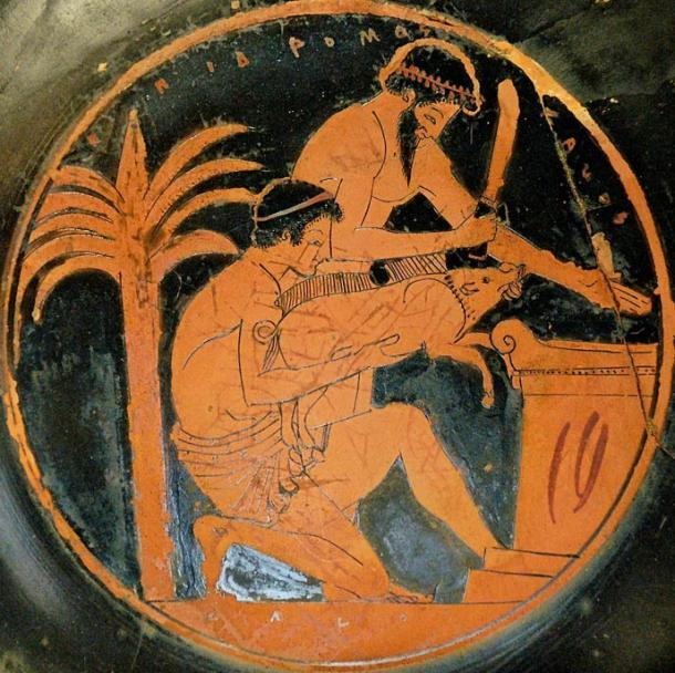 Sacrifice of a young boar in ancient Greece (tondo from an Attic red-figure cup, 510–500 BC, by the Epidromos Painter, collections of the Louvre).