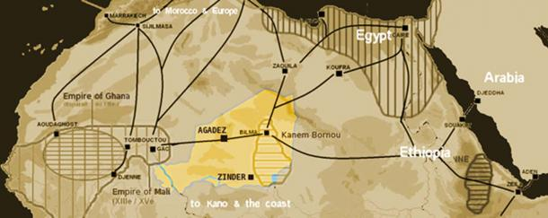 Saharan salt trade routes circa 1400 with the modern territory of Niger highlighted. (T L Miles / Public Domain)