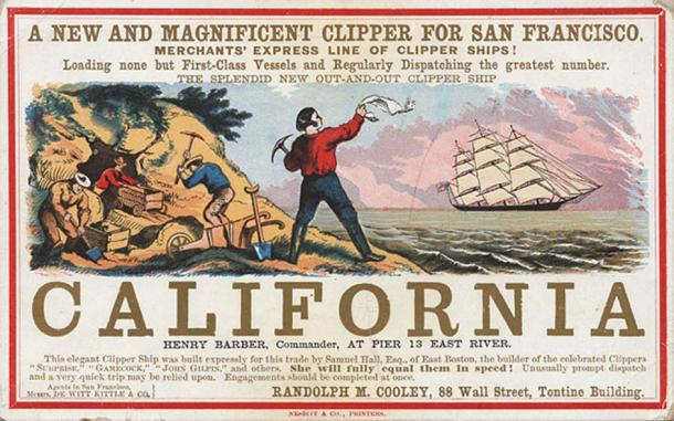 Sailing card for the clipper ship California, depicting scenes from the California gold rush. (ca. 1850)