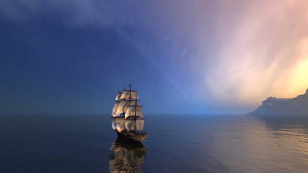 Sailing ship in the vast ocean at dusk (Carlos / Fotolia)