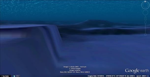 Google Earth image of the Saint Croix Basin's sheer wall.