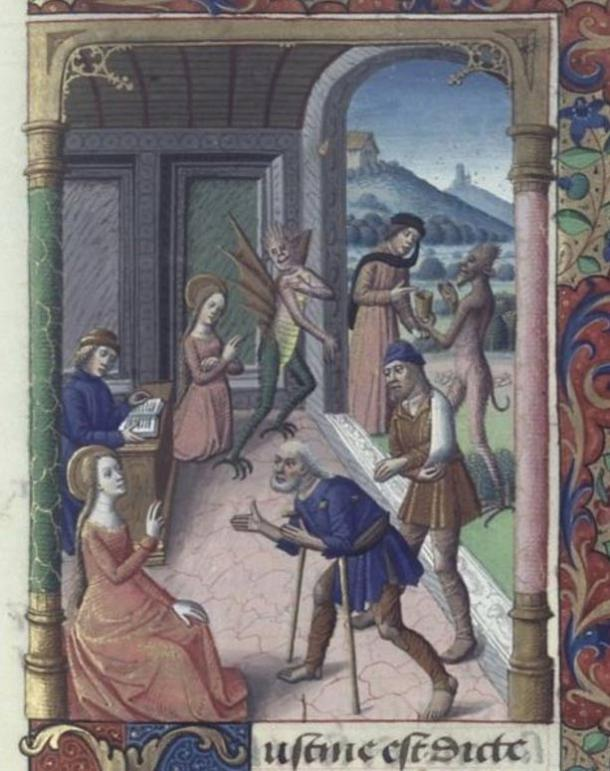 Saint Cyprian and the demon, 14th-century manuscript of the Golden Legend.