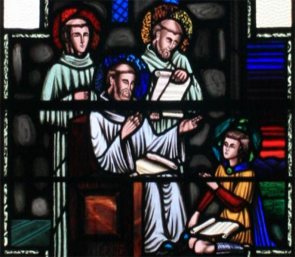 Saint Finian as a boy with Saint David in Wales. (Andreas F. Borchert / CC BY-SA 3.0)