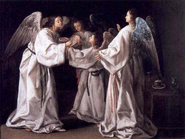 Saint Raymond Nonnatus is the patron saint of childbirth, midwives, children, and pregnant women. Saint Raymond Nonnatus being fed by Angels by Eugenio Caxés, 1630.  (Follower Of Eugenio Cajes / Public Domain)