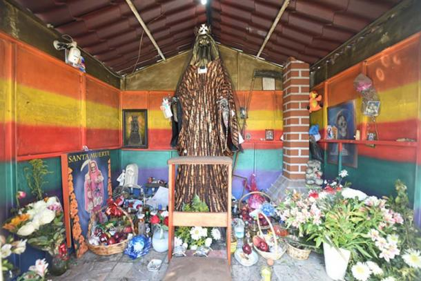 Mexico's Folk Saint Santa Muerte, associated with healing, protection, and a path to the afterlife.