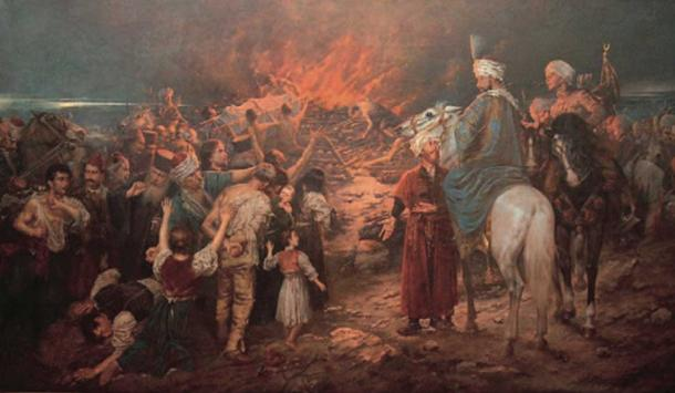 Painting depicting the burning of Saint Sava's remains.