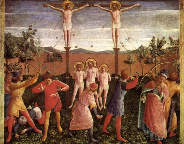Saints Cosmas and Damian were crucified, stoned, thrown into the sea and finally beheaded, legend says. This painting showing the stoning and crucifixions, is by Fra Angelica.